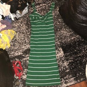 Green and white bodycon dress